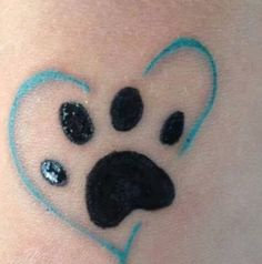 Paw tattoo-- different color heart for each dog