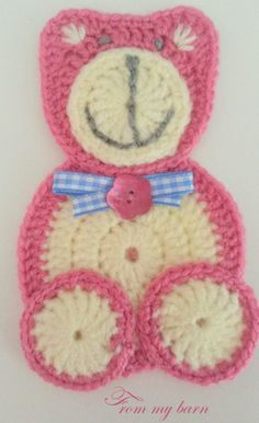 Applicatie beer - Supply Tutorial and Ideas Crochet Applique Patterns Free, Granny Square Crochet Pattern, Crochet Blanket Patterns, Baby Blanket Crochet, Crochet Motif, Crochet Designs, Crochet Flowers, Crochet Stitches, Crochet Faces