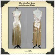 1930's Bias Cut Satin Dress