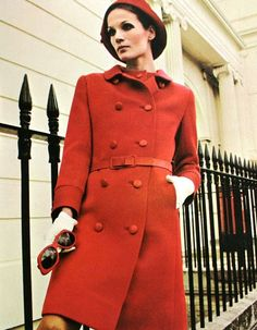 Willy van Rooy is wearing a coat in  double-faced gaberdine by Susan Small, 1967