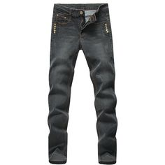 Modish Straight Leg Side Metal Rivets Embellished Zipper Fly Men's... ($14) ❤ liked on Polyvore featuring men's fashion, men's clothing and men's jeans