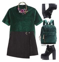 """""""Black and green"""" by gabygirafe ❤ liked on Polyvore featuring GetTheLook, amazing, outfit, black and romwe"""