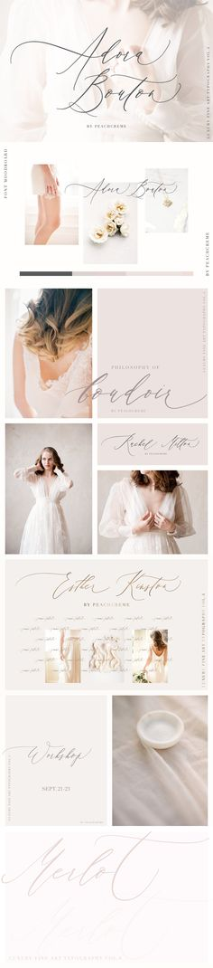 A beautiful, modern calligraphy font. Perfect for wedding invitations, stationery, elegant and feminine design. Logos, typography and blogging.