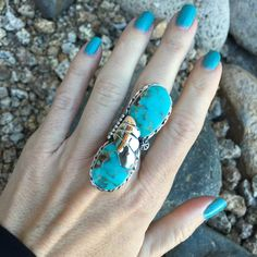 Kingman Turquoise 2 Stone Wing Design Ring | Unique & Stylish Sterling Silver Exotic Stone Jewelry