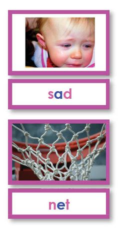 Pink Series Reading Phonetic Words with Photos, 2 part cards