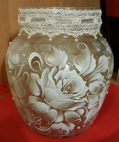 """Letter """"We found new pins for your board . Painted Glass Vases, Painted Wine Glasses, Glass Bottle Crafts, Bottle Art, Glass Painting Designs, One Stroke Painting, Ornaments Design, China Painting, Bottle Painting"""
