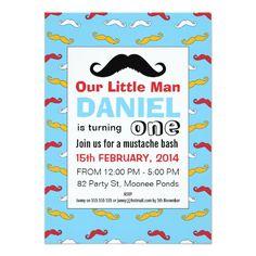 Mustache Little Man 1st Birthday Party Invitation