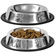 Pet Food Bowl Stainless Steel Non Skid Pet Paws Doodler Dish Is Perfect for a Small Dog Cat Kitten Puppy (2 bowls per order)  - These metal sturdy pet bowls are ready for chow time! Bowls are the perfect size for kittens, cats, and small dogs, and the non-slip bottom helps keep them in place. Great gifts for home, kennels, and shelters, and a wonderful resale item for pet stores, grocery stores, and veterinary offices.