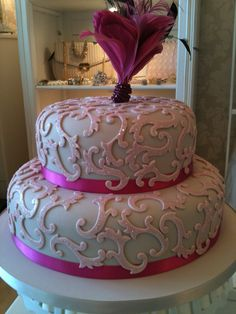 Pink sparkle wedding cake by Susan McEvoy