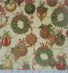 Cotton Fabric, Home Decor, Quilt, Craft, Christmas,Ornaments Holiday Flourish 8, Kaufman,HC187 Fast Shipping