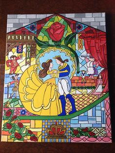 Beauty and the beast canvas painting disney belle stained glass