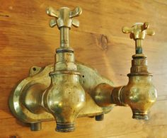 1920 s French Wall Mounted Solid Brass Taps Belfast Sink Bath