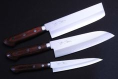 "Gold steel 3P chef knife Set YOSHIHIRO MADE IN JAPAN by YOSHIHIRO. $229.99. Hardness Rockwell C scale: 60. Handle Material: wood. Blade: Double-Edged (50/50) / Blade Length: santoku-6.5"" (165mm),usuba6.5"" (165mm),-petty5.25""(135mm). Knife Type: SET. Steel Type: Gold Steel. Gold Forging  Gold steel is the highest quality in the stainless class providing a super sharp edge. The Gold Steel is forged with soft iron on both sides of the blade making it easy to sharpe..."