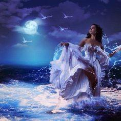 Lavender moon ocean night woman dancing