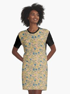 Floral girly pattern design ideas for the cute lady dress. Graphic T-shirt Dresses feature your chosen design, by an independent artist Sublimation printed 96% polyester, 4% elastane front panel Solid color 100% cotton back/sleeves/rib Loose casual fit Graphic T-Shirt Dresses are made and printed in the USA Ecommerce Web Design, Cute Woman, Vintage Floral, Summer Time, Cute Dresses, Chiffon Tops, Pattern Design, Cold Shoulder Dress, Girly