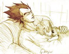 Daddy goodnight-Vegeta & Trunks by Sanzo-Sinclaire at Deviantart Vegeta And Trunks, Vegeta And Bulma, Goku, Dragon Ball Z, Kai, Dbz Characters, Cute Anime Couples, Manga Anime, Daddy