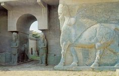 Ancient Assyrian city of Nimrud. ISIL fighter are razing this city with a bulldozer. Soulsick.