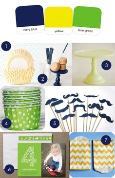 MY FAVE!!  navy + yellow + green {either lime or kelly}...and I.NEED. those navy polka dot treat sticks asap :)
