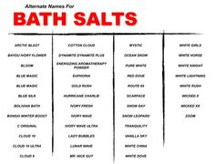 Drugs like these (fake bath salts) are not to be even experimented with due to the high risk of hospitalization. Fake bath salts are typically dispensed at convenient stores as well as head shops and you could probably find them at gas stations as well.