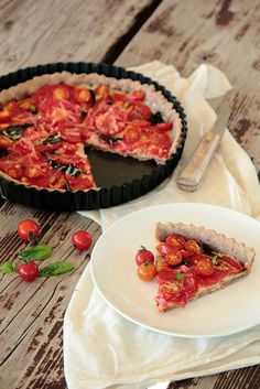 Garden Tomato & Basil Tart by pastryaffair... def going to make this with all the tomatoes and basil we have at home!