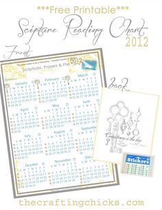 Printable Family Scripture Study chart.  Put a sticker on everyday that you have family scripture study.  also a spot for a sticker on FHE and attending the temple.  Kids will love putting the stickers on after we read and pray and this will help chris and i remember!