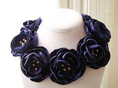 fabric flower necklace  royal matte satin blooms with by RiRiFisch, $125.00