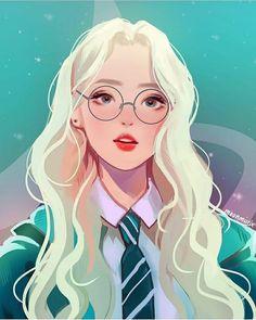 New Glasses Girl Illustration Ideas 48 Ideas Harry Potter Fan Art, Harry Potter Drawings, Harry Potter Anime, Desenhos Harry Potter, Digital Art Girl, Digital Art Fantasy, Cartoon Art Styles, Anime Art Girl, Anime Girls