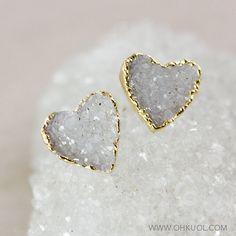 SALE Heart Shaped Druzy Studs 14K Gold Fill by OhKuol on Etsy