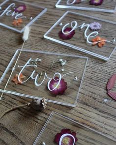 Table number ideas- perspex with pressed flowers. handmade by Sass weddings. All the autumn feels for this weekends wedding! Here's a little peek at the awesome table numbers we made filled with pressed flowers and autumn leaves ✨ Diy Resin Art, Diy Resin Crafts, Diy Wedding, Wedding Shot, Modest Wedding, Wedding Gowns, Country Weddings, Vintage Weddings, Wedding Vintage