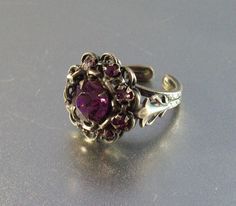 Purple Rhinestone Ring Vintage Cocktail by LynnHislopJewels
