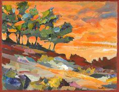 Coastal Trees at Sunset Original Painting. $325.00, via Etsy by Shelli Walters