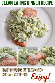 Enjoy clean eating recipe: salmon with avocado cucumber topping #cleaneating #healthyrecipe