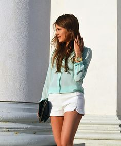 #mint long sleeve #shirt #fashion