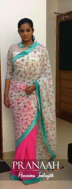 How to wear saree blouses watches 70 trendy Ideas Floral Print Sarees, Printed Sarees, Beautiful Blouses, Beautiful Saree, Indian Attire, Indian Wear, Indian Sarees, Silk Sarees, Georgette Sarees