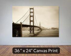 Golden Gate Bridge San Francisco 36x24 Large Art Sepia Canvas Print.
