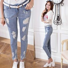 S~XXL New 2014 Fashion Women Jeans Blue Cotton Hole Ripped Jeans Personalized Irregular Frayed Trouser Legs Pencil Skinny Jeans $20.12