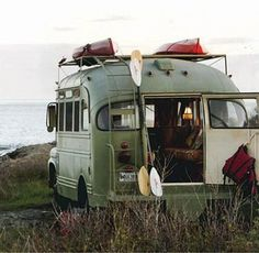 love this old school bus made into a camper