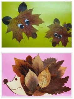 Autumnal animals with leaves