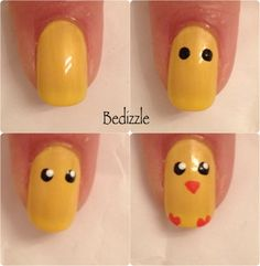 cute little chick nails for Easter! <3