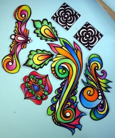 stained glass look shrinky dinks