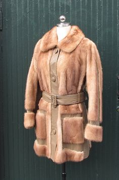 Vintage 1960's Leather and Mink Fur Coat Gruidl by lovestreetsf