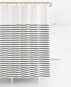 gold and white striped shower curtain. kate spade new york Harbour Stripe Shower Curtain  Black White CurtainStriped and white striped shower curtain with gold typography 72
