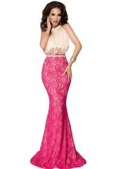 Bow Tie High Neck Silk Lace Fishtail Evening Dress