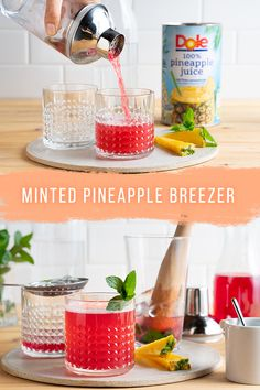 Our Minted Pineapple Breezer will give you a taste of vacation without leaving your own backyard. Fall Cocktails, Cocktail Drinks, Cocktail Recipes, Drink Recipes, Alcoholic Drinks, Beverages, Mix Drinks, Party Food And Drinks, Holiday Meals
