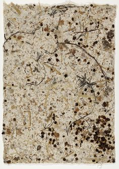 Wild Edible Drawing  No. 6 by John Cage, 1990. Handmade paper of mulberry, burdock, hibiscus stems, barley, hijiki, clover. Height 43cm, Width 30.5cm. (Museum of Modern Art, New York)