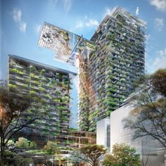 One Central Park Towers, Sydney. One Central Park residential towers, featuring the world's tallest vertical garden at 33 stories. These gardens consist of 190 native Australian plants as well as 160 exotic species.