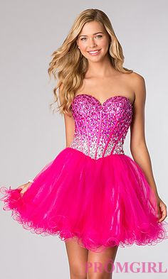 Short Strapless Beaded Party Dress by Alyce Paris 3635 at PromGirl.com