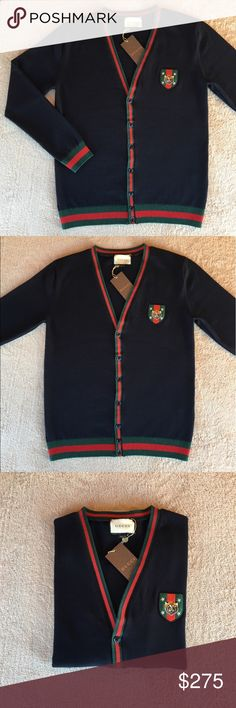 Cotton cardigan with Web An unmistakable mark of the Gucci brand. The signature green and red combination trims the neckline. *Green and red Web detail *It runs one size smaller. Gucci Sweaters Cardigan
