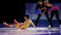 Canada's Moore-Towers and Moscovitch throw water on Spain's Fernandez performs during the #FigureSkating Gala Exhibition at the #Sochi2014 Winter Olympics