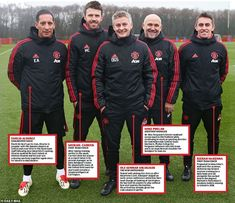 Solskjaer poses with members of his backroom staff having been installed as Manchester United's interim manager this week Manchester Unaited, Manchester United Club, Man Utd Fc, Michael Carrick, France Euro, Team Coaching, United We Stand, Sport Football, Man United
